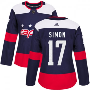 Authentic Adidas Women's Chris Simon Washington Capitals 2018 Stadium Series Jersey - Navy Blue