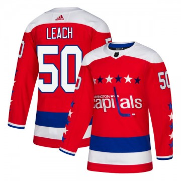 Authentic Adidas Youth Joey Leach Washington Capitals Alternate Jersey - Red