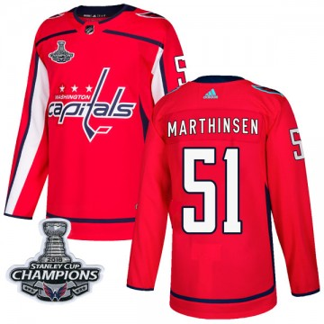 Authentic Adidas Youth Kristian Roykas Marthinsen Washington Capitals Home 2018 Stanley Cup Champions Patch Jersey - Red
