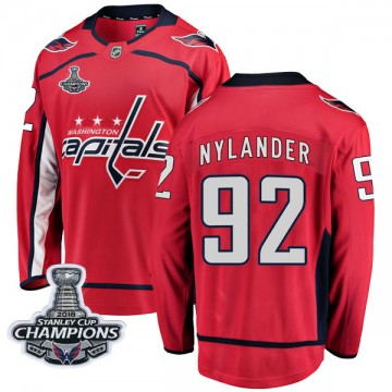 Breakaway Fanatics Branded Men's Michael Nylander Washington Capitals Home 2018 Stanley Cup Champions Patch Jersey - Red